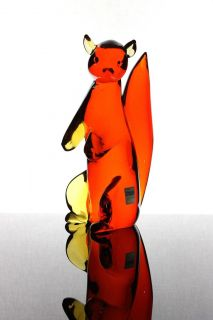 "Flavio Polia red ""Squirrel"" Sulpture by Seguso Vetri d´Arte Italy 1950"