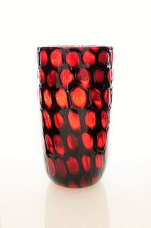 Vittorio Ferro a red Ring Murrine Vase by Fratelli Pagnin Italy 1995